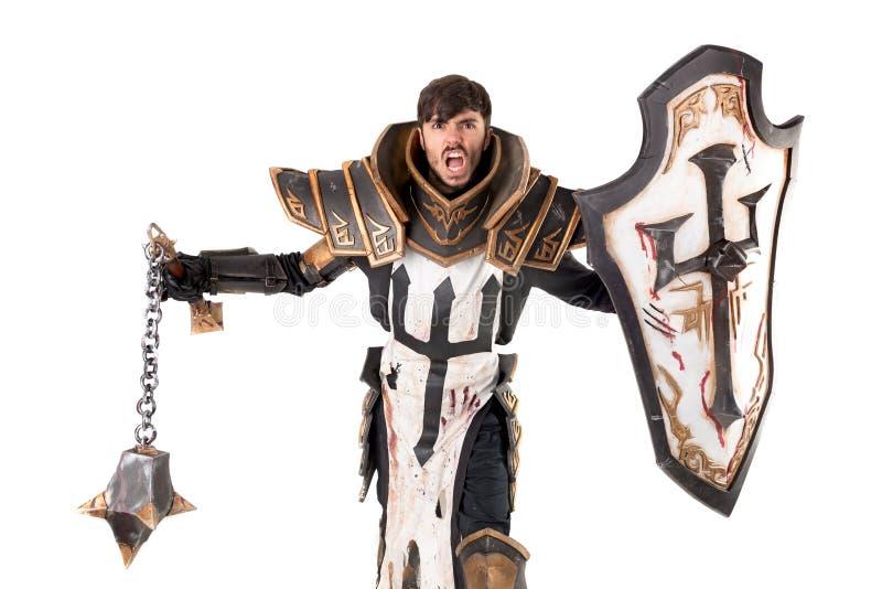Uomo con il costume del cavaliere fotografie stock
