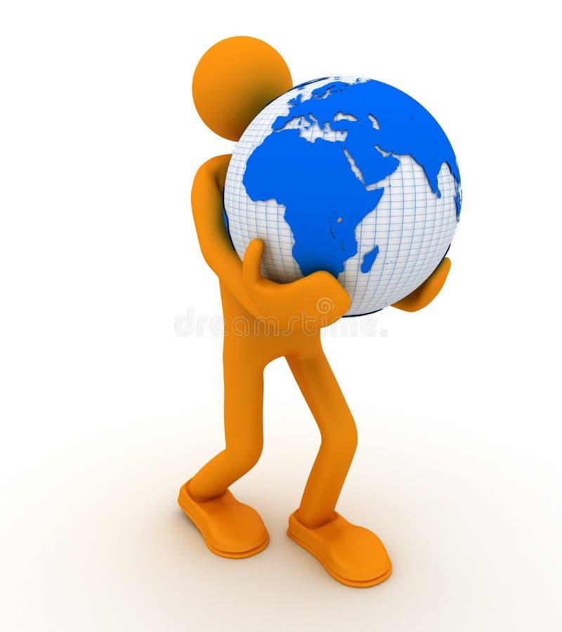Uomo con il globo. royalty illustrazione gratis