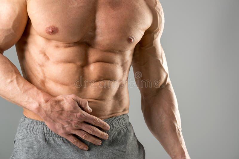 Uomo con il grande ABS fotografie stock