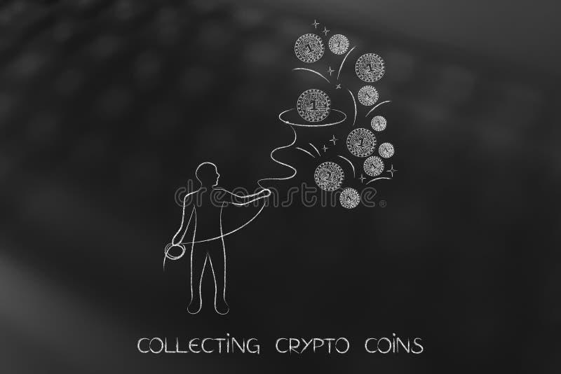 Uomo con il lazo che raccoglie le monete cripto illustrazione vettoriale