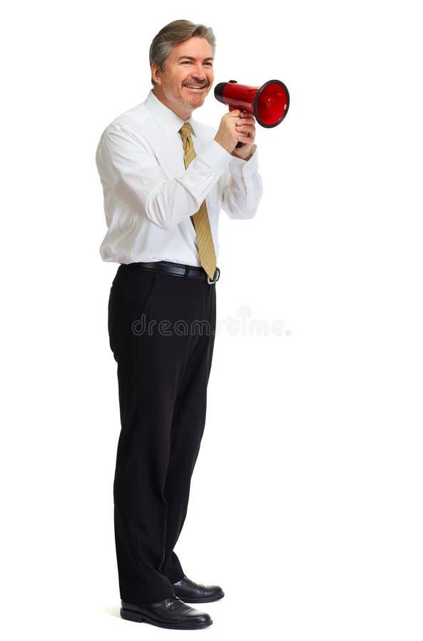 Uomo con il megafono immagine stock libera da diritti