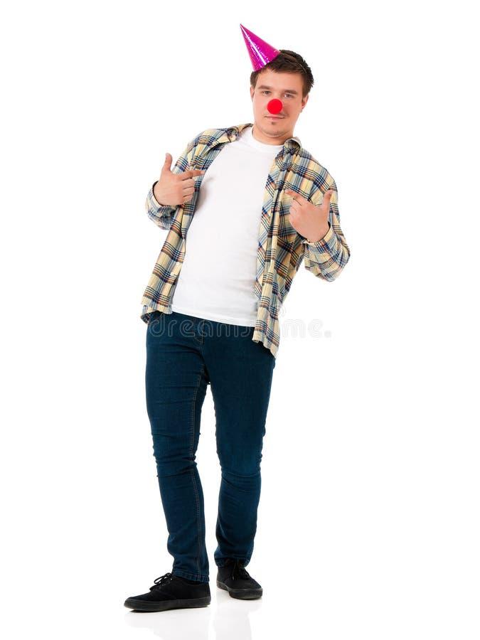 Uomo con il naso del pagliaccio immagini stock libere da diritti
