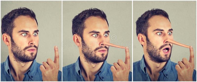 Uomo con il naso lungo Concetto del bugiardo Espressioni del viso umano, emozioni, sensibilità fotografia stock libera da diritti