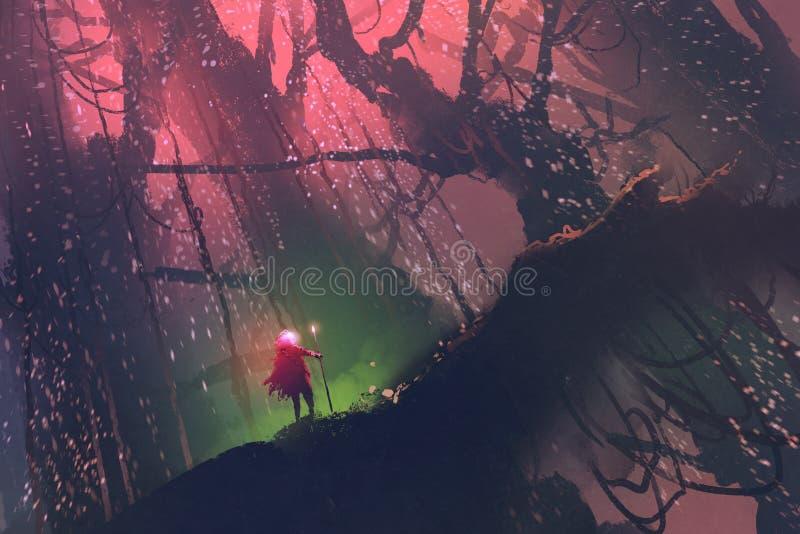 Uomo con il palo magico che cammina sull'albero gigante in foresta incantata illustrazione di stock