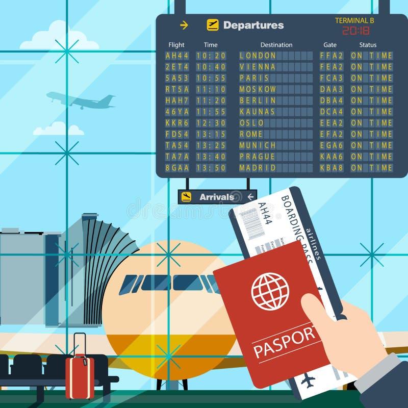 Uomo con il passaporto ed il volo aspettante del passaggio di imbarco illustrazione vettoriale