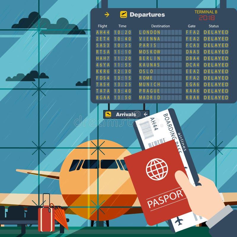 Uomo con il passaporto ed il volo aspettante del passaggio di imbarco Illustrazione dentro nella progettazione piana dell'aeropor royalty illustrazione gratis