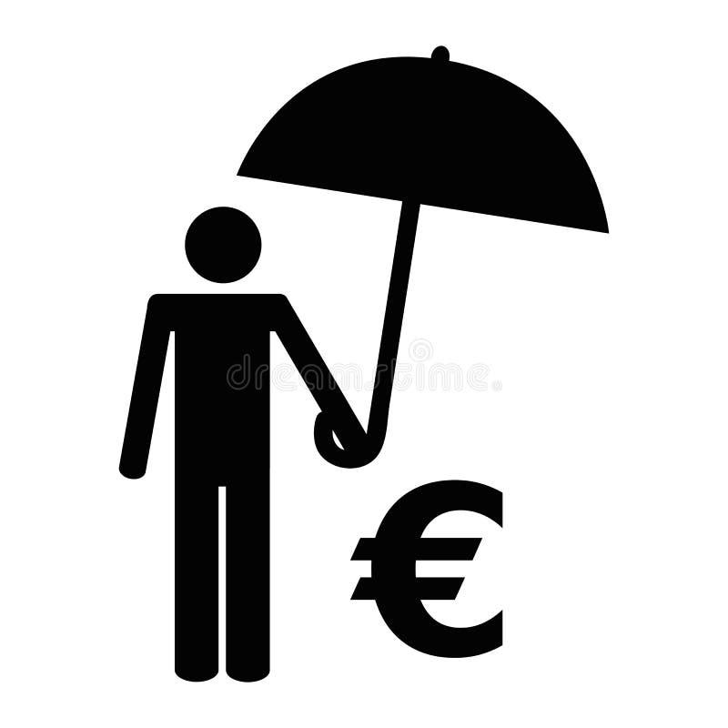 Uomo con il pittogramma dell'euro e dell'ombrello royalty illustrazione gratis