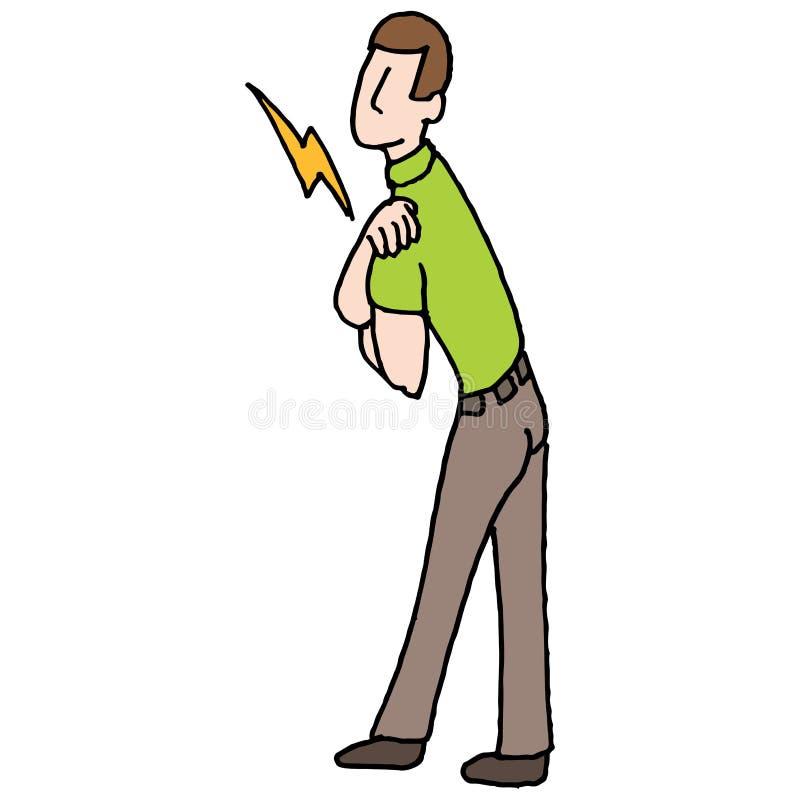 Uomo con il problema di salute di dolore della spalla illustrazione vettoriale