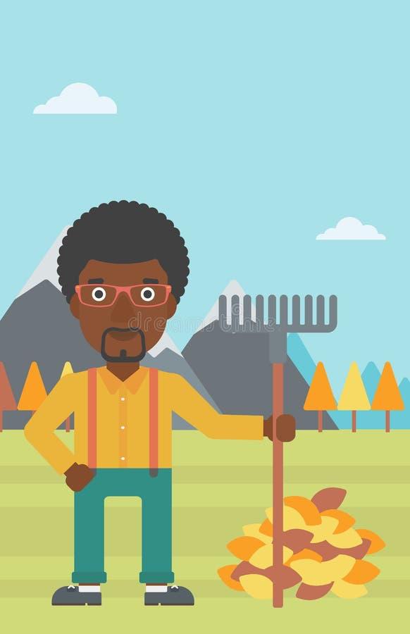 Uomo con il rastrello che sta mucchio vicino delle foglie di autunno illustrazione di stock