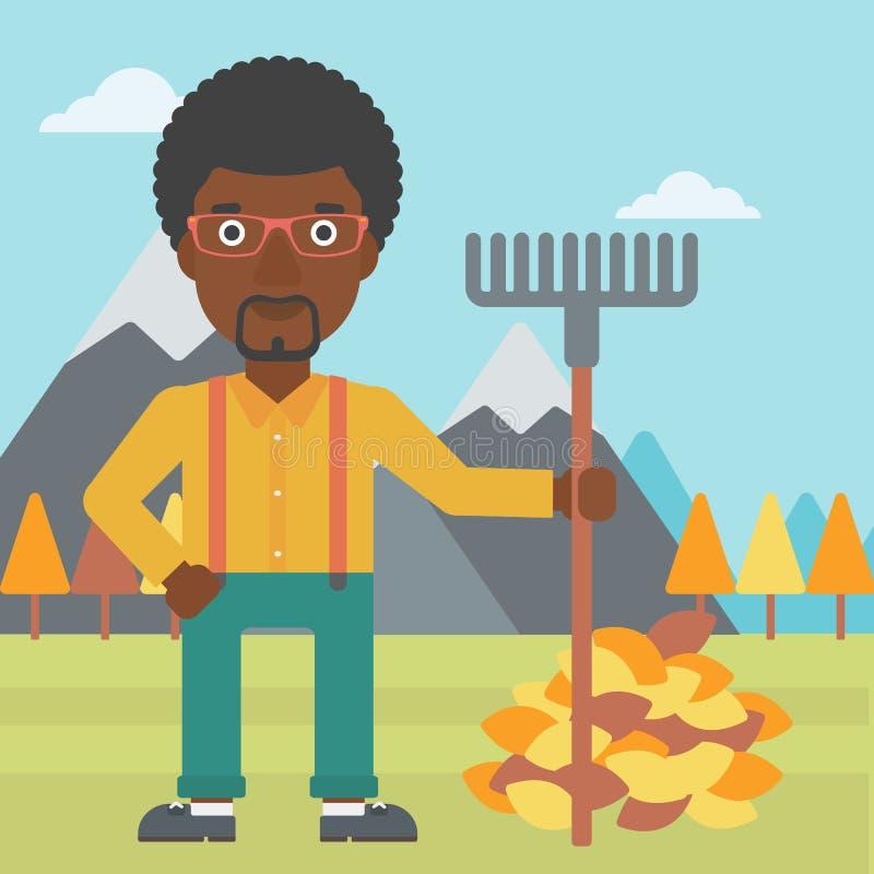 Uomo con il rastrello che sta mucchio vicino delle foglie di autunno illustrazione vettoriale