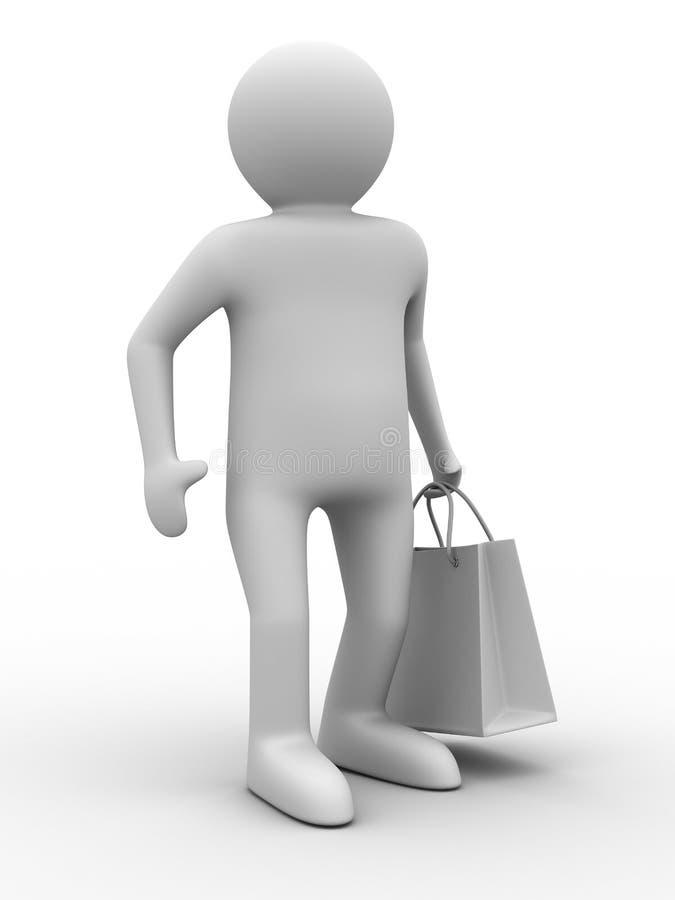 Uomo con il sacchetto shoping su bianco illustrazione vettoriale