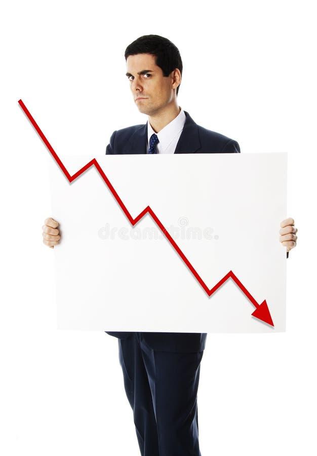 Uomo con il segno in fallimento immagine stock