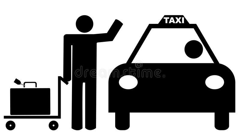 Uomo con il tassì di saluto dei bagagli royalty illustrazione gratis