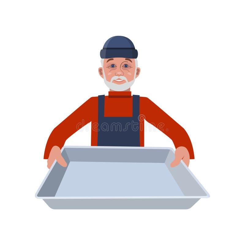 Uomo con il vassoio illustrazione vettoriale