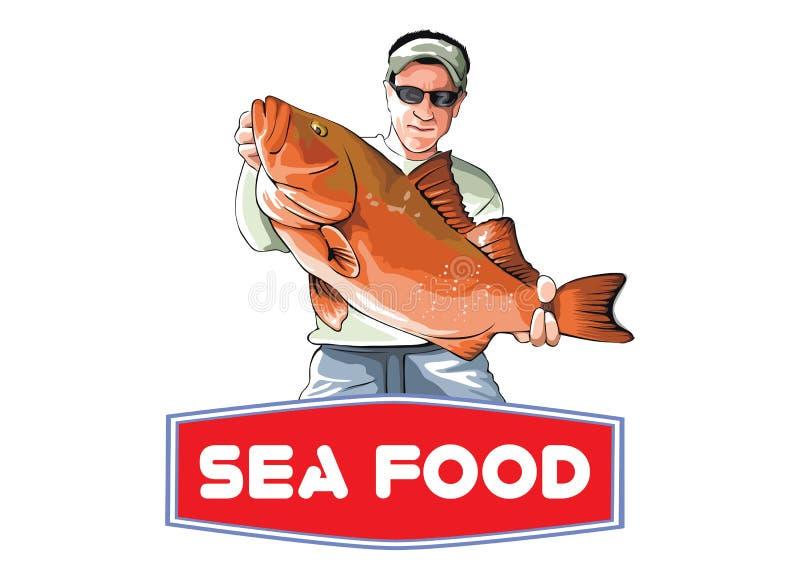 Uomo con il vettore dell'illustrazione del pesce immagini stock