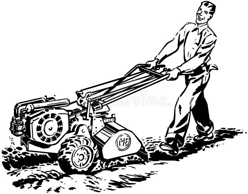 Uomo con l'attrezzo di Roto illustrazione di stock