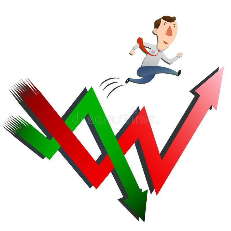 Uomo con l'aumento delle azione illustrazione di stock