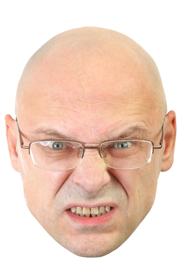 Uomo con l'espressione facciale arrabbiata di vetro immagine stock