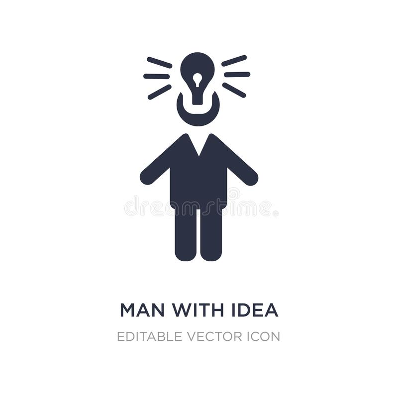 uomo con l'icona di idea su fondo bianco Illustrazione semplice dell'elemento dal concetto della gente illustrazione vettoriale