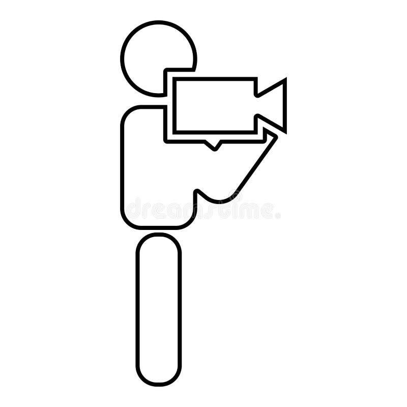 Uomo con l'immagine semplice di stile piano dell'illustrazione di colore del nero dell'icona del bastone della videocamera illustrazione vettoriale