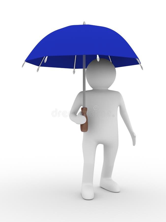 Uomo con l'ombrello blu su priorità bassa bianca illustrazione vettoriale