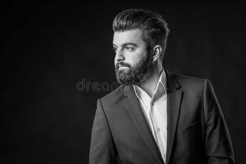 Uomo con la barba, in bianco e nero immagini stock libere da diritti