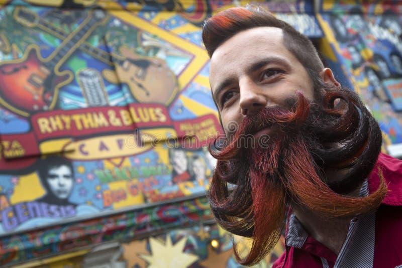 Uomo con la barba ed i baffi lunghi immagine stock