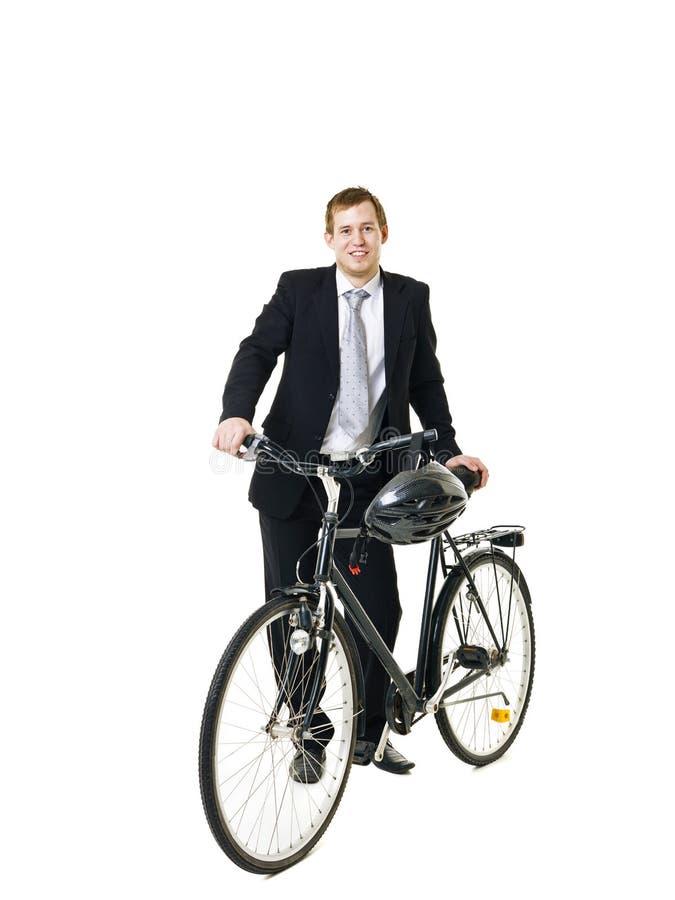 Uomo con la bicicletta immagine stock libera da diritti