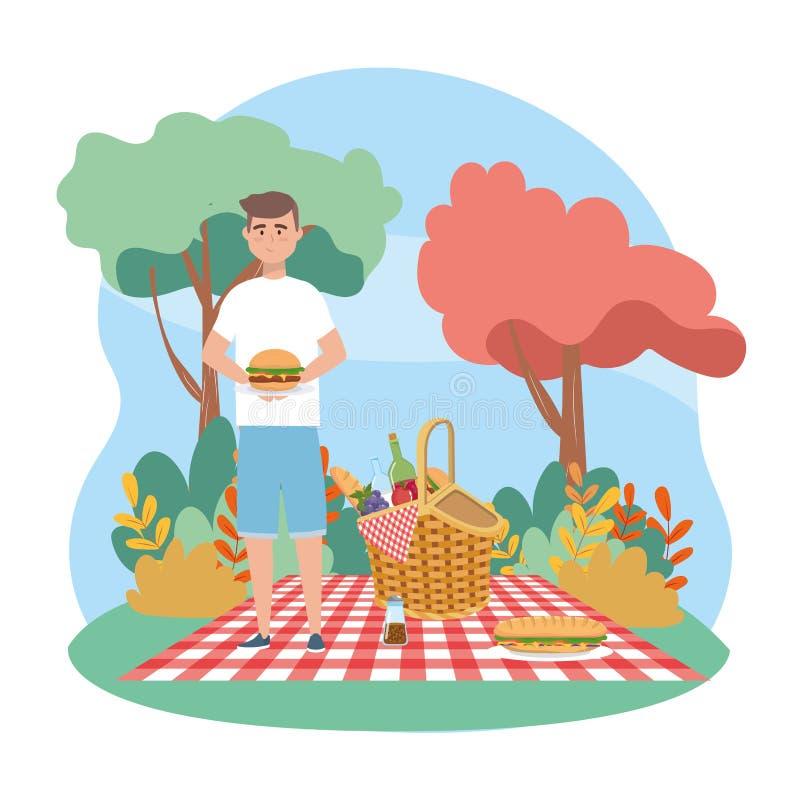 Uomo con la bottiglia di vino e dell'hamburger con sandwinch royalty illustrazione gratis