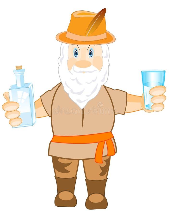 Uomo con la bottiglia ed il vetro royalty illustrazione gratis
