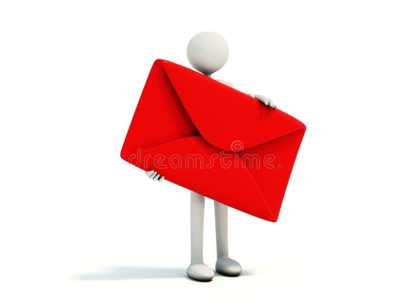 Uomo con la busta rossa illustrazione di stock
