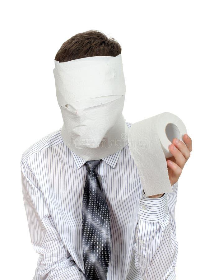 Uomo con la carta igienica fotografie stock libere da diritti