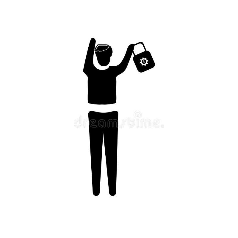 Uomo con la cassa con il vettore dell'icona del dollaro isolata su fondo bianco, uomo con il caso con il simbolo di dollaro, illu illustrazione di stock