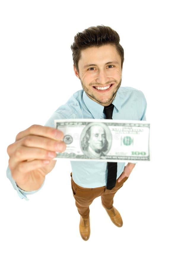 Uomo con la fattura del dollaro fotografia stock libera da diritti