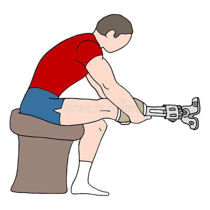 Uomo con la gamba prostetica illustrazione vettoriale