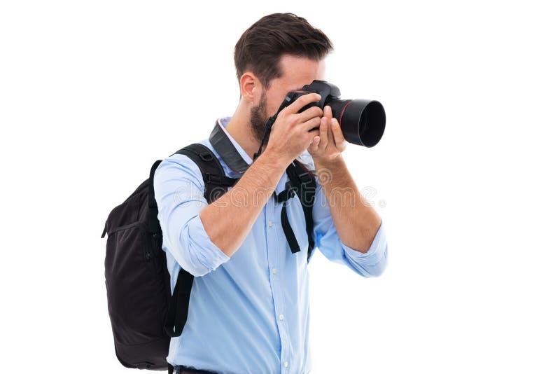 Uomo con la macchina fotografica digitale immagini stock libere da diritti
