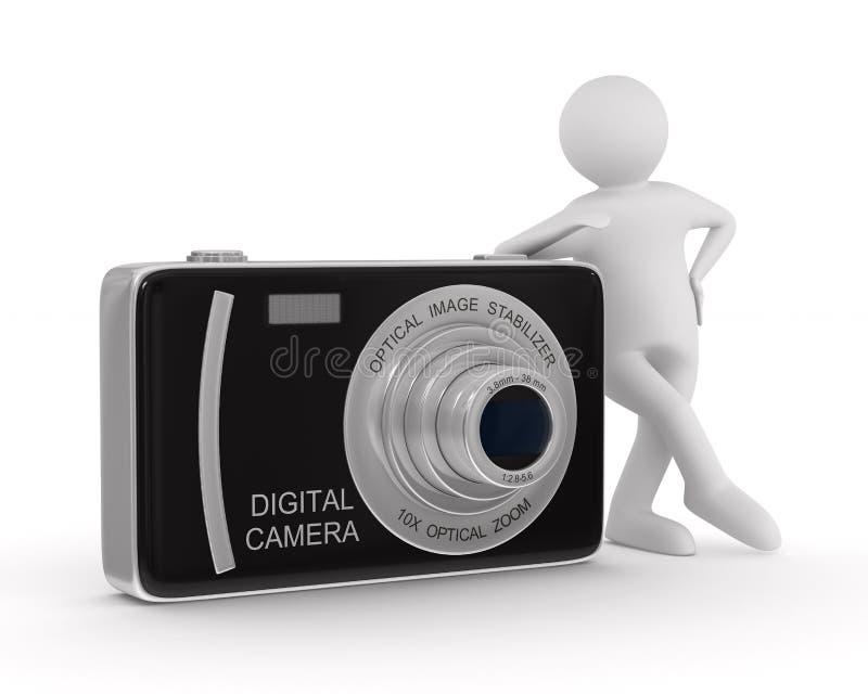 Uomo con la macchina fotografica digitale compatta. 3D isolato illustrazione di stock