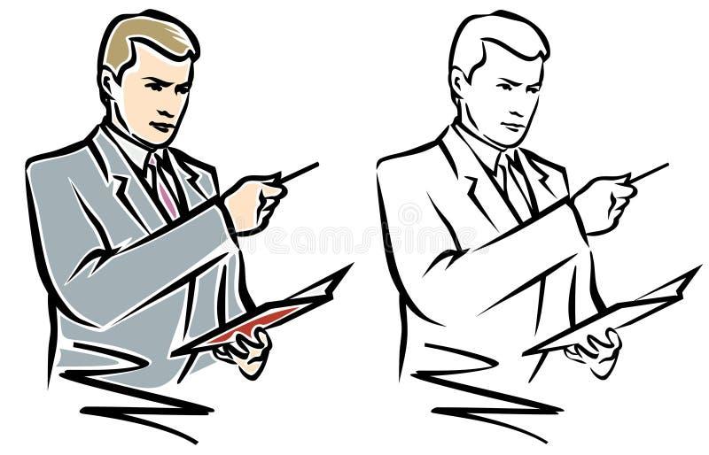 Uomo con la penna ed il taccuino. JPG ed ENV illustrazione vettoriale