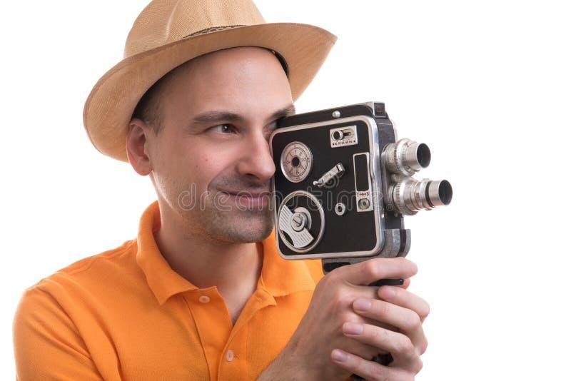 Uomo con la retro macchina fotografica fotografie stock