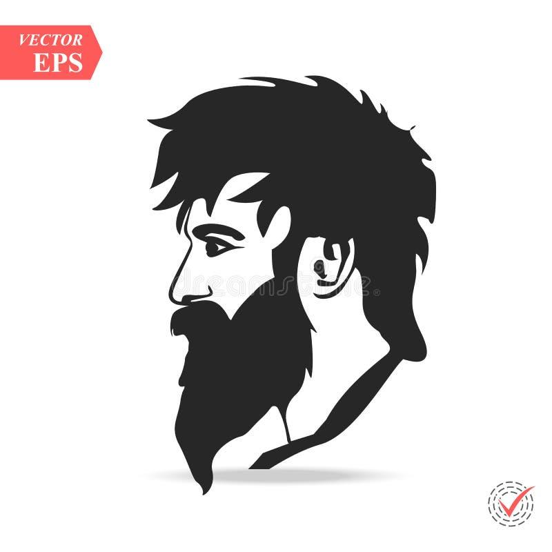 Uomo con la siluetta di variazioni della barba Stile dei pantaloni a vita bassa della siluetta di modo, royalty illustrazione gratis