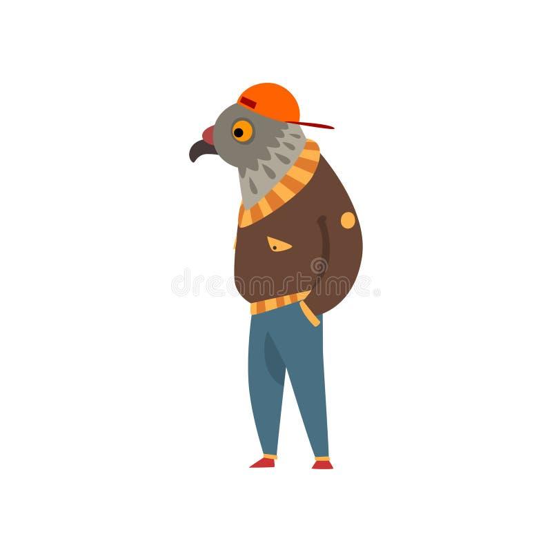 Uomo con la testa dell'aquila, carattere dell'uccello di modo che indossa l'illustrazione d'avanguardia di vettore dei vestiti su illustrazione vettoriale