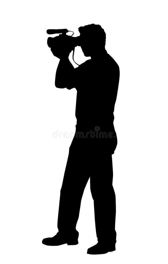 Uomo con la videocamera pratica isolata illustrazione vettoriale