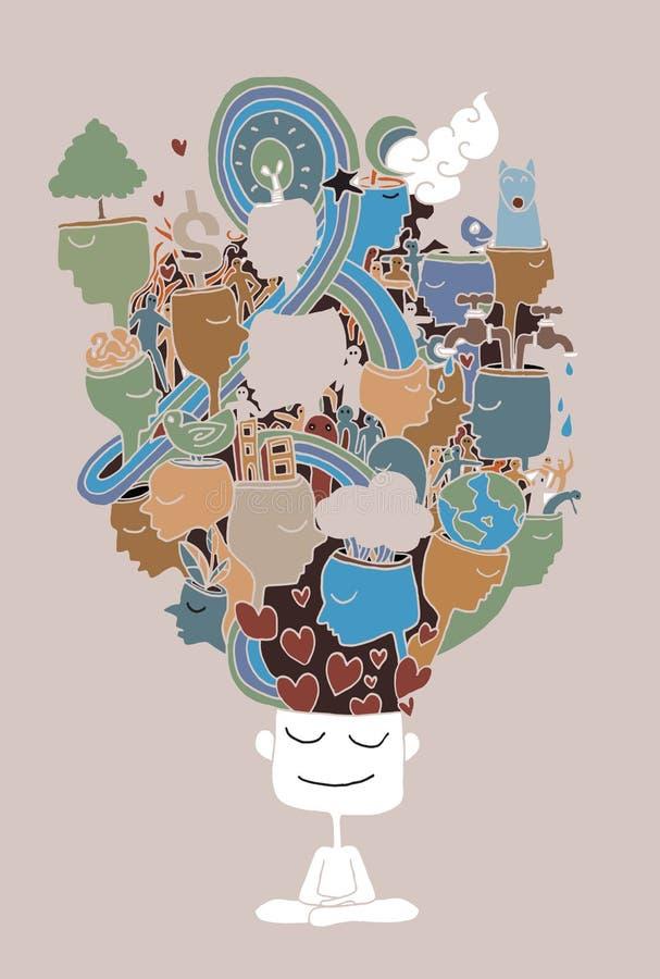 Uomo con le icone ed i simboli di Eco Va il concetto verde Salvo il mondo illustrazione vettoriale