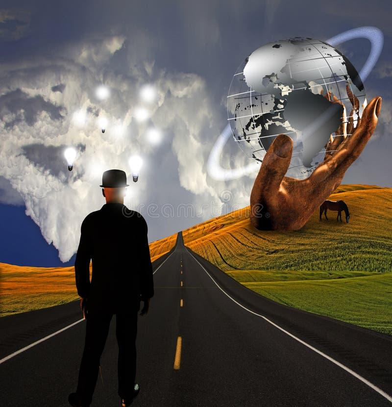 Uomo con le idee nel paesaggio con la scultura illustrazione vettoriale