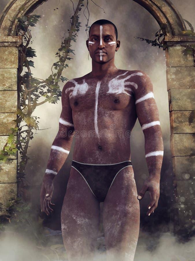 Uomo con le pitture tribali illustrazione vettoriale