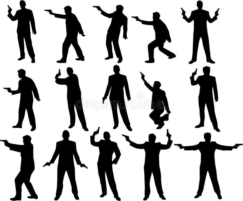 Uomo con le siluette della pistola royalty illustrazione gratis
