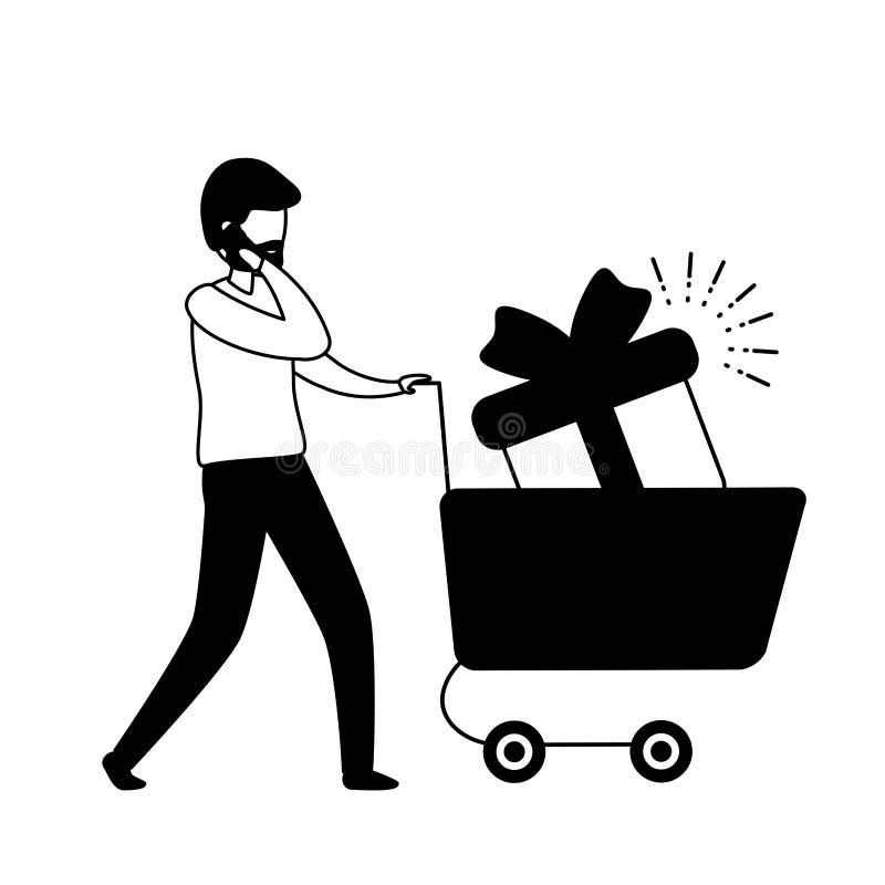 Uomo con lo smartphone ed il carrello illustrazione di stock