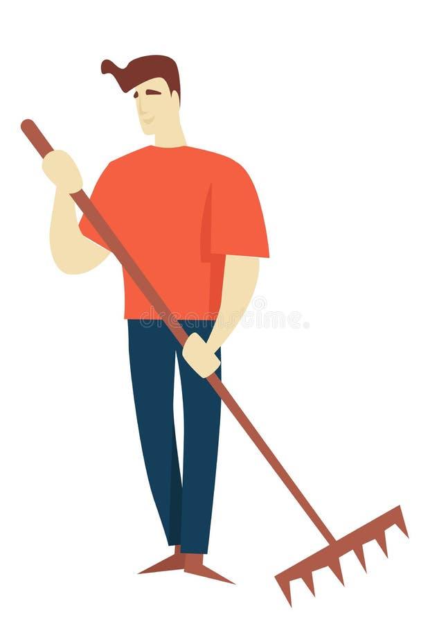 Uomo con lo strumento di giardinaggio o il carattere maschio isolato rastrello illustrazione di stock