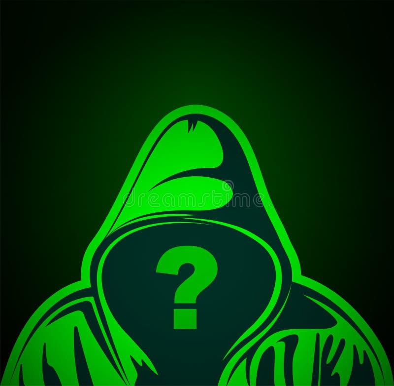 Uomo con punto interrogativo sul posto di fronte Persona anonima o hacker Chi è questa persona illustrazione Vector royalty illustrazione gratis