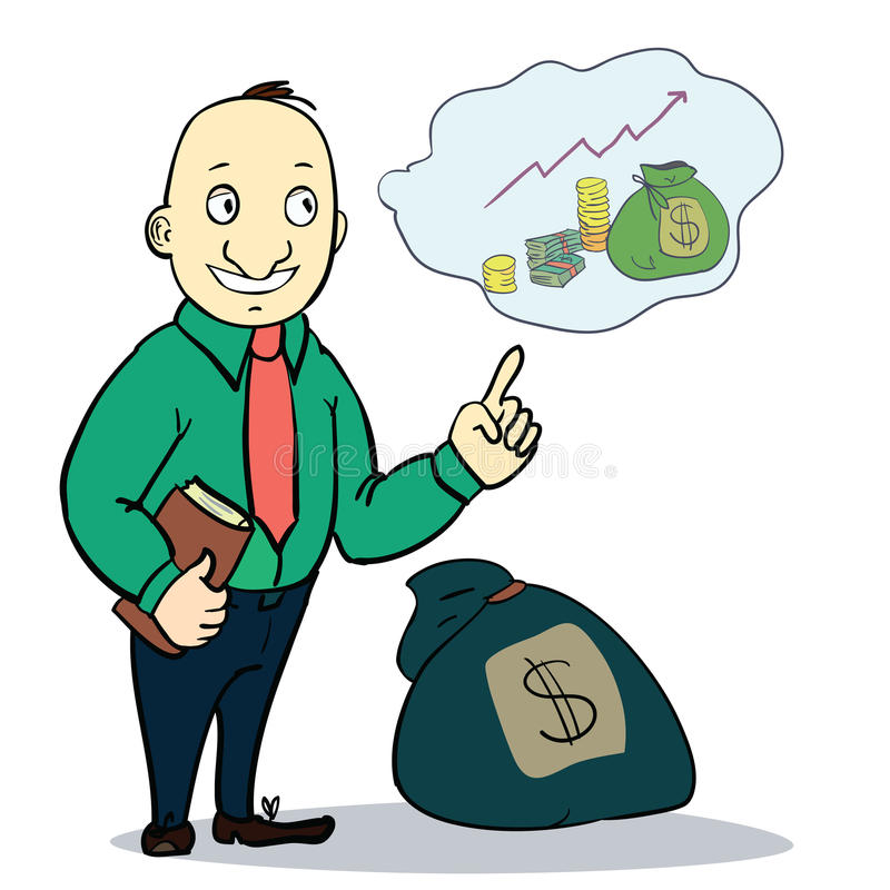 Uomo con soldi Illustrazione di vettore fotografia stock libera da diritti